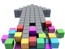 Teamwork business concept - arrow assembling from blocks Stock Images
