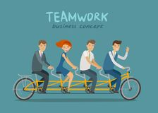 Teamwork, business concept. Business people or students riding tandem bike. Cartoon vector illustration. Teamwork, business concept. Business people or students Stock Photos