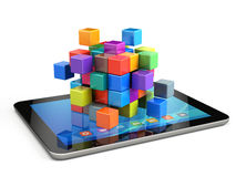 Teamwork business concept - cube assembling from blocks Royalty Free Stock Photos
