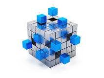Teamwork business concept - cube assembling from blocks Royalty Free Stock Photo