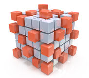 Teamwork business concept - cube assembling from blocks Royalty Free Stock Images