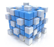 Teamwork business concept - cube assembling from blocks Stock Photo
