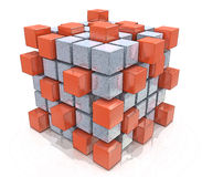 Teamwork business concept - cube assembling from blocks. In the design of the information associated with the abstract. 3d illustration Royalty Free Stock Photography