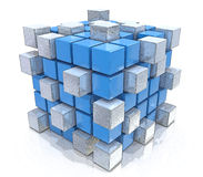 Teamwork business concept - cube assembling from blocks. In the design of the information associated with the abstract. 3d illustration Stock Photography