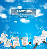 Teamwork Business concept with doodles Sketch background Royalty Free Stock Photo