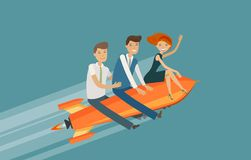 Teamwork, business concept. Success, achievement, development vector illustration Royalty Free Stock Photography