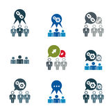 Teamwork and business cooperation theme creative vector icons se Stock Photos