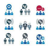 Teamwork and business cooperation theme creative vector icons se Royalty Free Stock Image