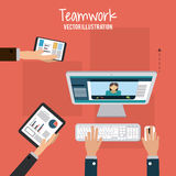 Teamwork and business design Stock Photo