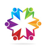 Teamwork business hugging people  logo Royalty Free Stock Images