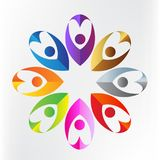 Logo teamwork love heart charity business colorful people icon logotype vector. Teamwork business icon. Concept of collaboration community union goals solidarity Royalty Free Stock Photos