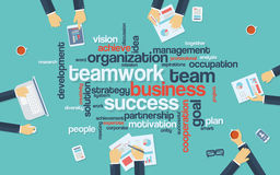 Teamwork business infographics poster with. Businessmen working around the word cloud. Analysis and planning keywords. Office objects. Eps10 vector illustration Stock Photo