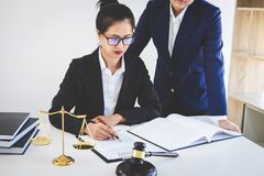 Teamwork of business lawyer colleagues, consultation and confere. Nce of professional female lawyers working having at law firm in office. Concepts of law, Judge Stock Photos