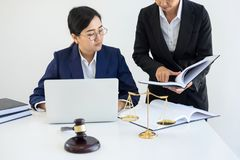 Teamwork of business lawyer colleagues, consultation and confere. Nce of professional female lawyers working having at law firm in office. Concepts of law, Judge Royalty Free Stock Image