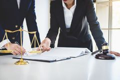Teamwork of business lawyer colleagues, consultation and confere. Nce of professional female lawyers working having at law firm in office. Concepts of law, Judge stock photo