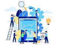 Business man teamwork concept technology media. Teamwork business man flat design illustration on white background. Technology social media Stock Images