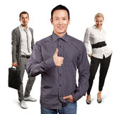 Teamwork and Business Man Shows Well Done Royalty Free Stock Photos