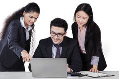 Teamwork in business meeting with laptop Stock Photos