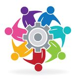 Teamwork business people with gear logo. Teamwork meeting business people with gear solution logo vector Royalty Free Stock Photos