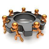 Teamwork business process gear wheel workers turning easy Royalty Free Stock Images