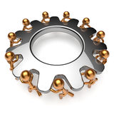 Teamwork business process man characters turning gear together Stock Photos