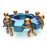 Teamwork business process workers start turning gear. Together. Partnership team cooperation relationship community efficiency concept. 3d render  on white Stock Image