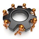 Teamwork business process workers turning black gearwheel Royalty Free Stock Photo