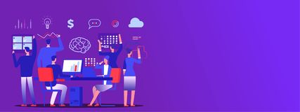 Teamwork, business team brainstorm vector copy space banner. Illustration of business teamwork, banner team concept meeting royalty free illustration