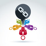 Teamwork and business team with chain link icon, linked social r Stock Photos