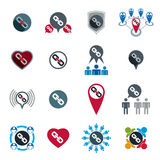 Teamwork business team and cooperation icons set. With chain link and gears, vector unusual symbols collection Stock Photography