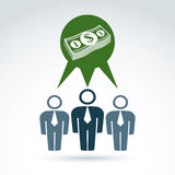 Teamwork and business team with dollar money icon, vector Royalty Free Stock Photography