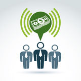 Teamwork and business team with dollar money icon, vector Royalty Free Stock Photo