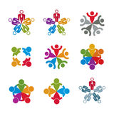 Teamwork and business team and friendship icon set, social group Royalty Free Stock Photo