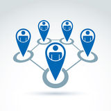 Teamwork and business team and friendship icon, social group, or Stock Images