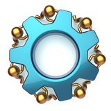 Teamwork business workforce process mans turning gear together Stock Photo