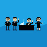 Teamwork. Businessman and businesswoman in office vector Stock Image