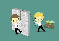Teamwork. Businessman who stay near money help a businessman who behind the wall Royalty Free Stock Images
