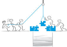 Teamwork - Businessmen collaborate and build a bridge. Business people team build a puzzle bridge royalty free illustration