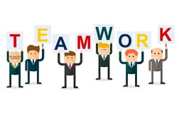 Teamwork businessmen with letters Stock Image