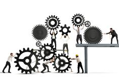 Teamwork of businesspeople. At work to build a business system Stock Images