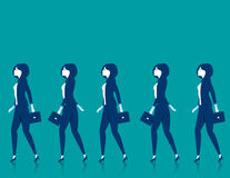 Teamwork. Businesswomen walk. Concept business illustration. Vector flat Stock Photos