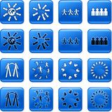 Teamwork buttons. Collection of blue square teamwork rollover buttons Stock Photo
