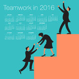 2016 Teamwork calendar for print or web use vector illustration