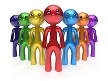Teamwork cartoon characters friendship men crowd leader. Teamwork cartoon characters friendship men crowd individuality leadership businessman commander team Royalty Free Stock Image