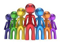 Teamwork cartoon characters individuality men crowd leader Royalty Free Stock Photography
