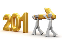 Teamwork celebrating new year 2011. Two man carrying number one decorating 2011 calender with clipping path royalty free illustration