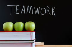 Teamwork and chalkboard Stock Images