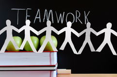 Teamwork and chalkboard Stock Image