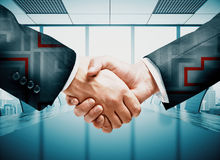 Teamwork and challenge concept. Abstract handshake with maze on meeting room interior background. Teamwork and challenge concept. 3D Rendering Royalty Free Stock Image