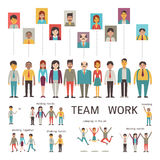 Teamwork character. Various character of businesspeople in concept of teamwork, partnership, togetherness, company. Multi-ethnic, diverse, male and female. Flat Stock Photography